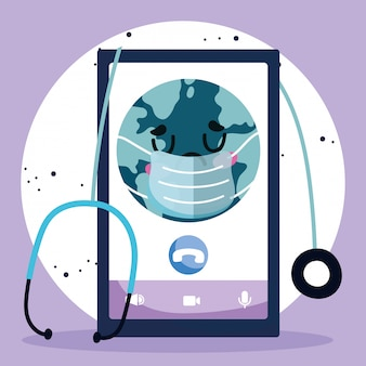 Médico on-line, mundo de smartphone com máscara estetoscópio médica covid 19