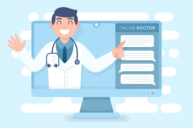 Médico on-line no computador