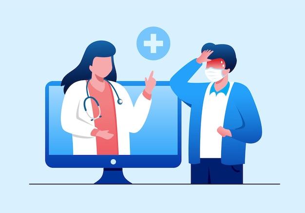 Médico on-line para consulta médica ilustração vetorial plana banner página de destino