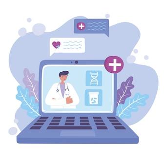 Médico on-line, vídeo de um médico usando e serviço de assistência médica ou aconselhamento médico portátil para laptop