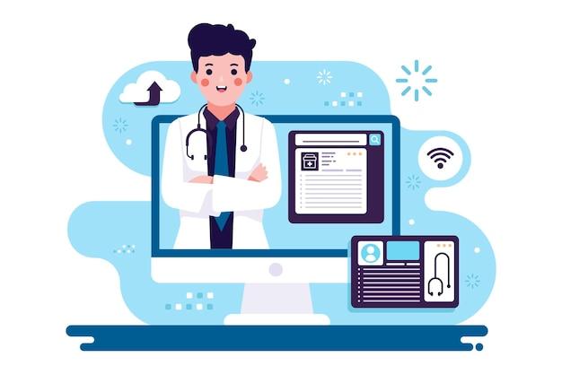 Médico online com computador