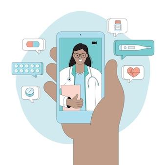 Médico online de telessaúde conceito de telemedicina consulta médica online por videochamada