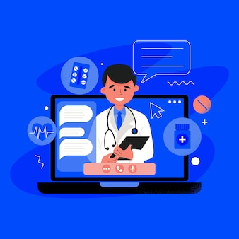 Médico online ilustrado em vídeo chamada