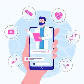 Médico online ilustrado no aplicativo de chamada de vídeo