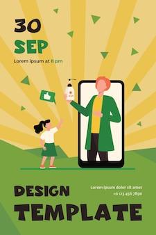 Médico online que recomenda protetor solar para crianças. tela do telefone, garota tomando frasco de protetor solar modelo de folheto plano