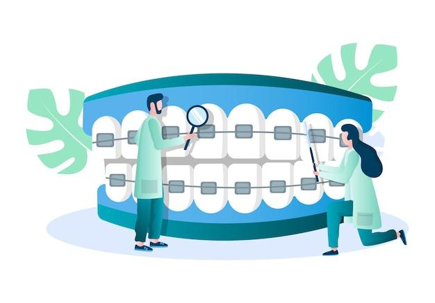 Médico ortodontista examinando os dentes com aparelho dentário ilustração vetorial bráquetes dentais pouco de ortodontia ...
