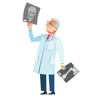 Médico ortopedista fratura de raio-x crânio medicina