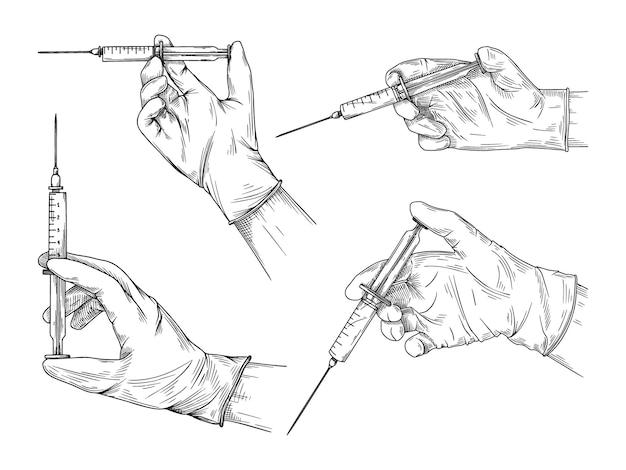 Médico ou cientista com luvas de látex. mãos em luvas estéreis segurando uma seringa. no estilo de desenho.