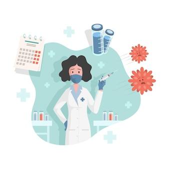 Médico ou enfermeira segurando uma seringa com a vacina contra o coronavírus covid