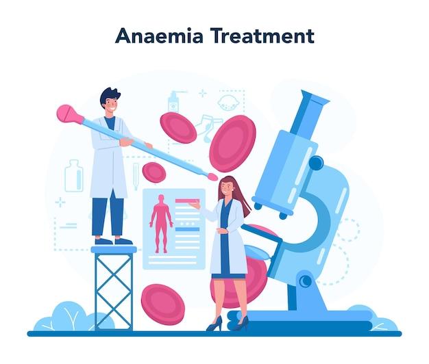 Médico ou médico generalista. idéia de médico tratando anemia. doença de sangue. ideia de problema de saúde e tratamento.