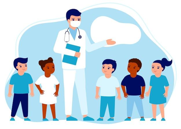 Médico pediatra e crianças aula de apresentação sobre o sistema imunológico, saúde, saúde, crianças