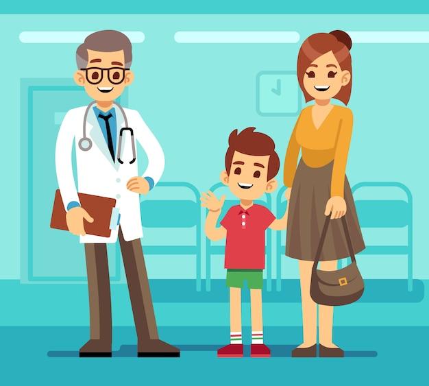 Médico pediatra sorridente e mãe com criança doente. conceito de desenho vetorial de cuidados pediátricos