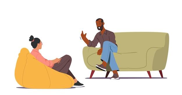 Médico, personagem especialista falando com o paciente sobre problema de saúde mental