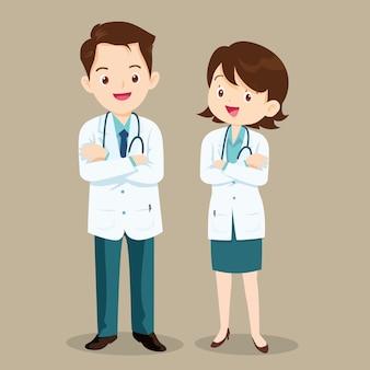 Médico personagem homem e mulher