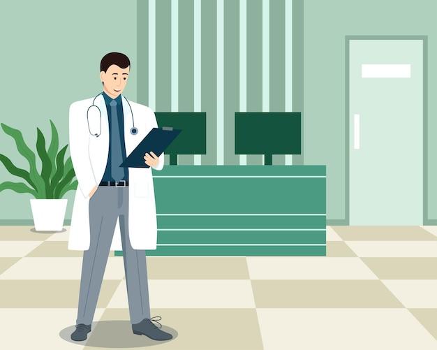 Médico perto da mesa da recepcionista na clínica médica, ilustração vetorial