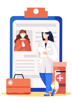 Médico perto de uma prancheta com uma mulher mascarada