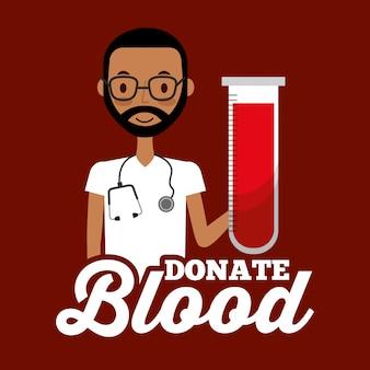 Médico pessoal médico segurando o tubo de ensaio doar sangue