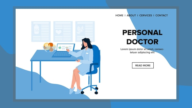 Médico pessoal na clínica vector gabinete médico. médico pessoal jovem mulher sentada na cadeira e esperando o paciente para consulta de saúde. personagem de desenho animado de trabalhador de hospital na web