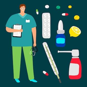 Médico, pílulas e medicamentos