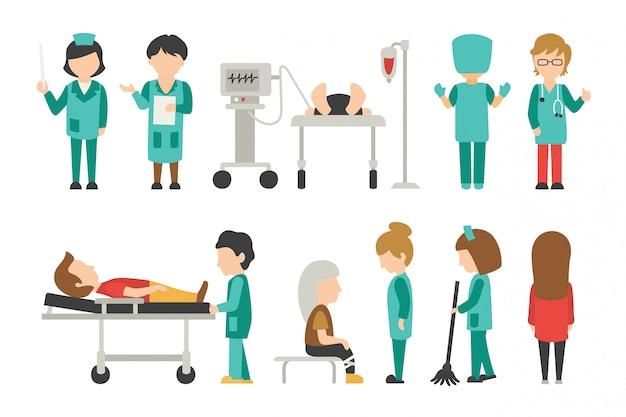 Médico plano, médico, enfermeira, cuidados, pessoas ilustração vetorial, gráfico editáveis para seu ...