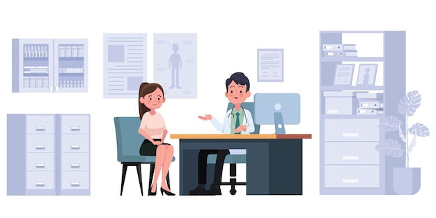 Médico praticante homem e jovem paciente no consultório médico do hospital