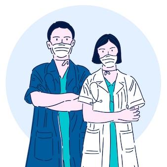 Médico profissional com uma máscara médica. super heroi. trabalhador médico. ilustração vetorial em estilo linear moderno.