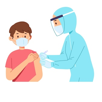 Médico profissional de saúde ajuda a injetar uma seringa de vacina corona covid no paciente