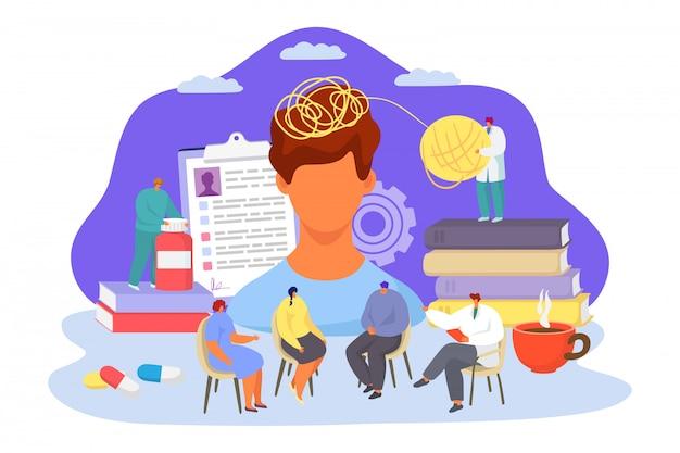Médico profissional de saúde mental, ilustração. aconselhamento em psicoterapia de grupo, tratamento de depressão. homem trabalhando