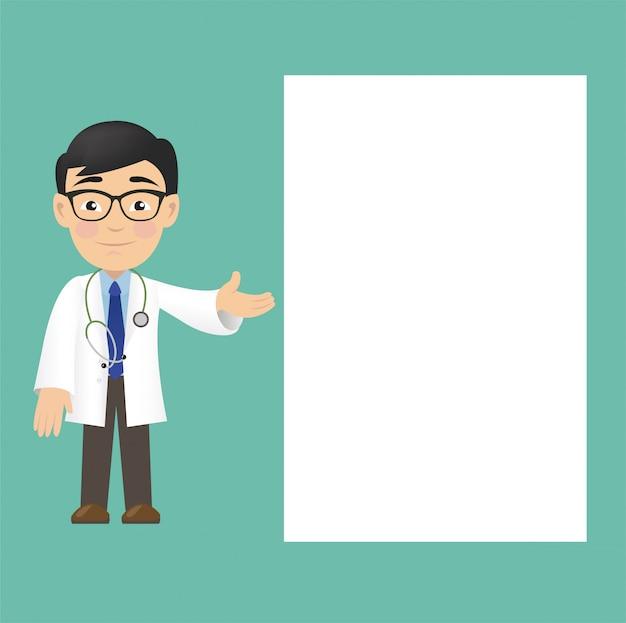 Médico profissional isolado com banner