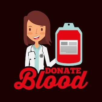 Médico profissional segurando saco de sangue doar