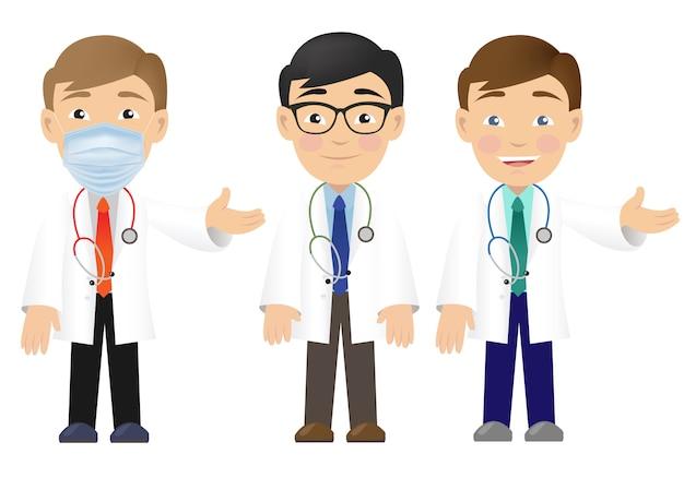 Médico profissional três isolado fundo branco
