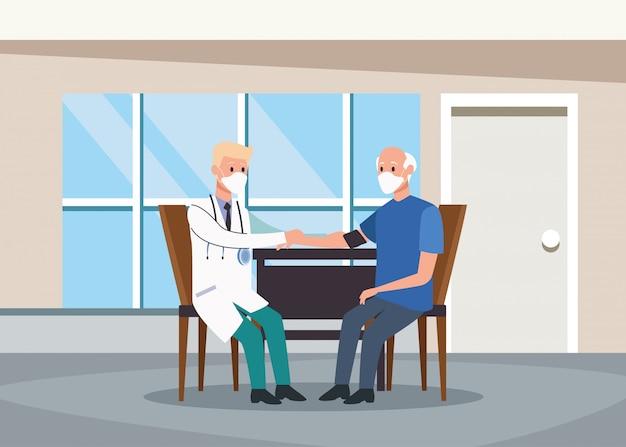 Médico proteger personagens idosos