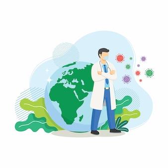Médico proteja a terra da epidemia de coronavírus. ilustração dos desenhos animados