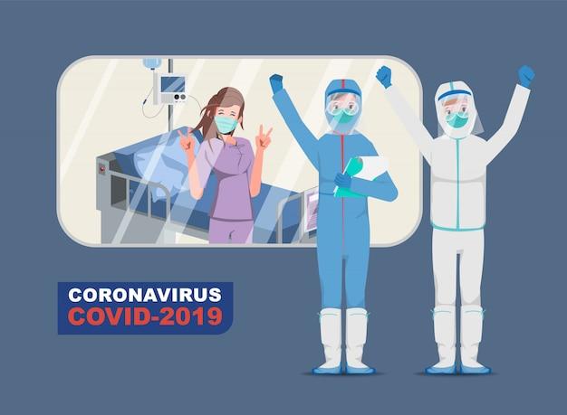 Médico que salva pacientes do surto de coronavírus e combate ao coronavírus. doente com covid-19.