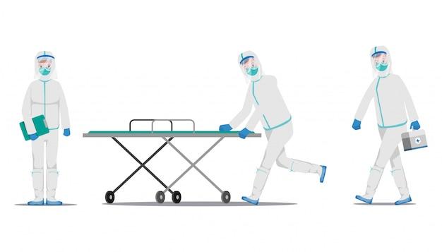 Médico que salva pacientes do surto de coronavírus e luta contra o covid-19.