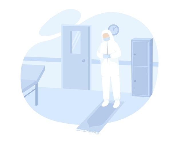 Médico reza na sala de cirurgia enquanto usa equipamento de proteção individual