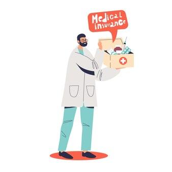 Médico segurando uma caixa com ilustração do conceito de seguro saúde