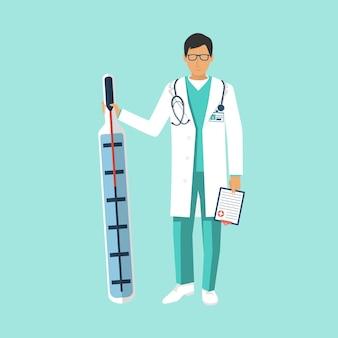 Médico segurar termômetro médico na mão. conceito de saúde. ilustração
