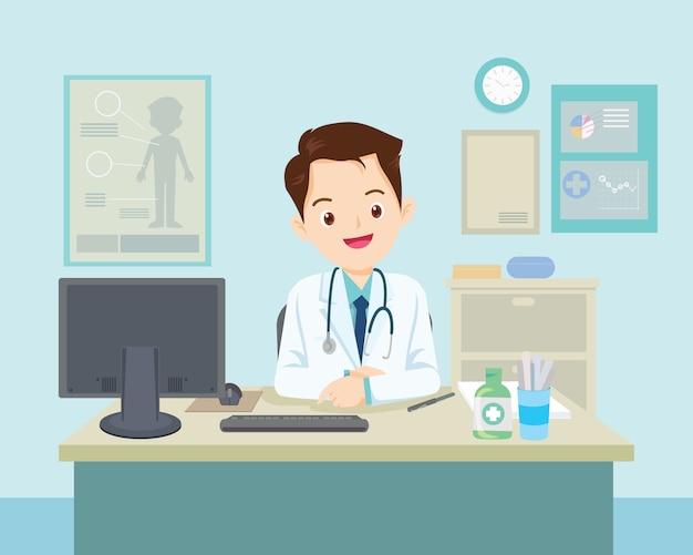 Médico sentado à mesa