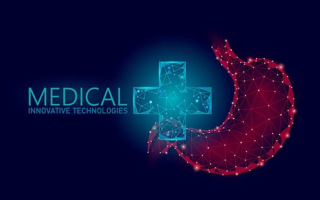 Médico símbolo cruz estômago conceito on-line médico. aplicativo de consulta médica. bandeira de rede web farmácia de diagnóstico de saúde. fundo de mercado de entrega baixo poli