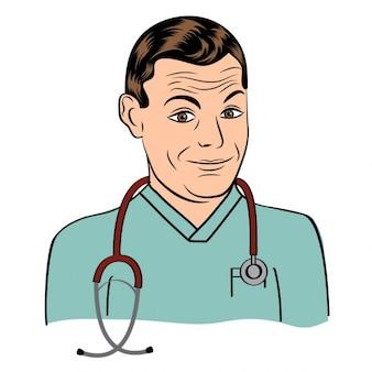 Médico simpático ilustração sorrindo
