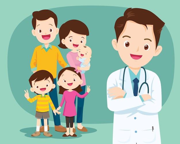 Médico sorridente e família fofa