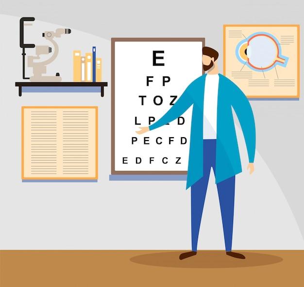Médico stand at sight check board para teste de visão.