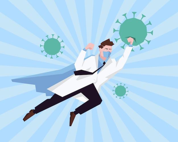 Médico super-herói trabalhando no hospital e lutando contra o coronavírus. parada pandêmica do surto de vírus de corona do conceito de healtcare.