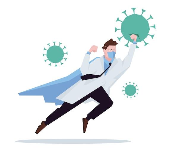 Médico super-herói trabalhando no hospital e lutando contra o coronavírus.