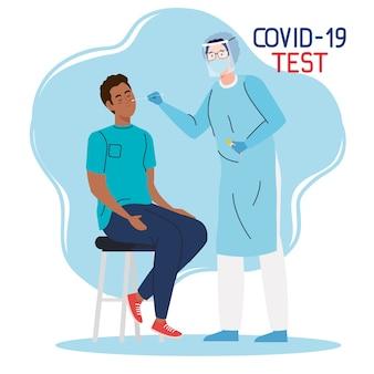 Médico testador de vírus covid 19 e homem negro no projeto da cadeira do tema ncov cov e coronavírus