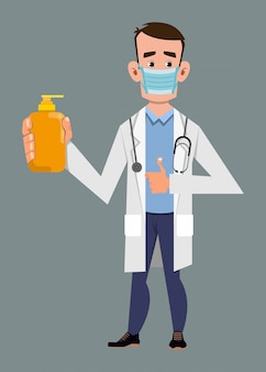 Médico usando máscara facial e mostrando o frasco de gel de álcool. covid-19 ou ilustração do conceito de coronavírus