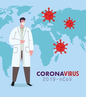 Médico usando máscara médica contra o coronavírus 2019 ncov com mapa-múndi e partículas