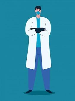 Médico usando máscara médica durante pandemia covid 19