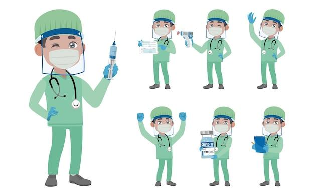 Médico usando suíte de proteção para combater o coronavírus